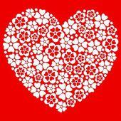 Herz hergestellt aus weißen blüten. — Stockvektor