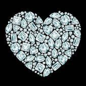 Herz-diamant-zusammensetzung — Stockvektor