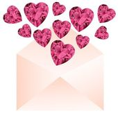 Opened envelope with pink gemstone hearts. — Stock Vector