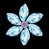Flower gem stone composition  — Stock Vector