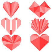 Set of 6 origami paper hearts — Stock Vector