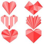 Sada 6 origami papírové srdce — Stock vektor