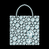 Shopping bag made of diamonds.  — Vector de stock