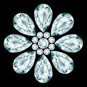 Flower gemstone composition  — Stock Vector