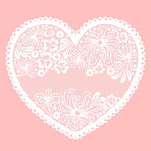 Lacy heart on pink background with empty lace net space for your — Stock Vector