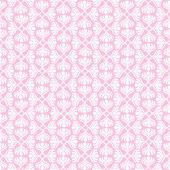 在粉红色的背景上的白色复古无缝模式 — 图库矢量图片