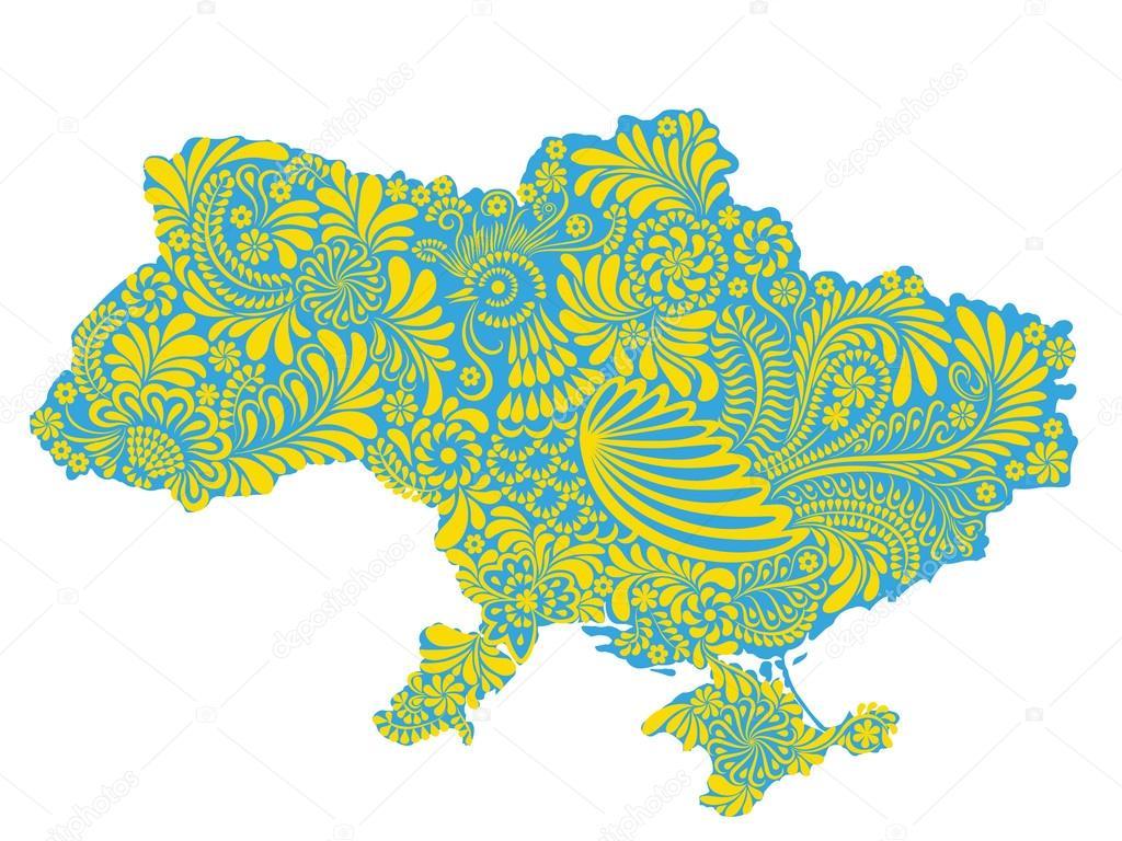 乌克兰领土地图绘与民族绘画风格 petrikivka– 图库插图