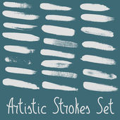 Artistic strokes set. Every stroke arranged to individual group. — Stock Vector