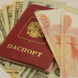 Rubles and passport — Stock Photo