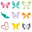 Vector group of butterflies on white background. — Stock Vector #30023931