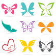 Stock Vector: Vector group of butterflies