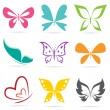 Vector group of butterflies — Stock Vector