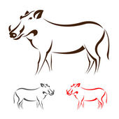 Vector image of an boar — Vector de stock