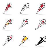 Set of vector carp koi — Stock Vector