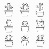 Set of vector cactus icons — Stock Vector