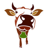 Brown cow on a white background — Stock Vector