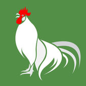 Cock on green background — Vector de stock