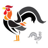 Cock on white background — Vector de stock