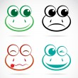 Vector image of an frog face — Stock Vector