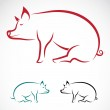 Vector image of an pig — Stock Vector #30179595