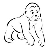 Vector image of an gorilla — ストックベクタ