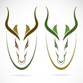 Vector image of an head impala and horns — Stock Vector