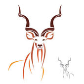 Greater Kudu has the longest horns in the world — Stock Vector