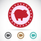 Set of vector a pig label — Stock Vector