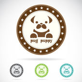 Set of vector pug puppy label — Stock Vector