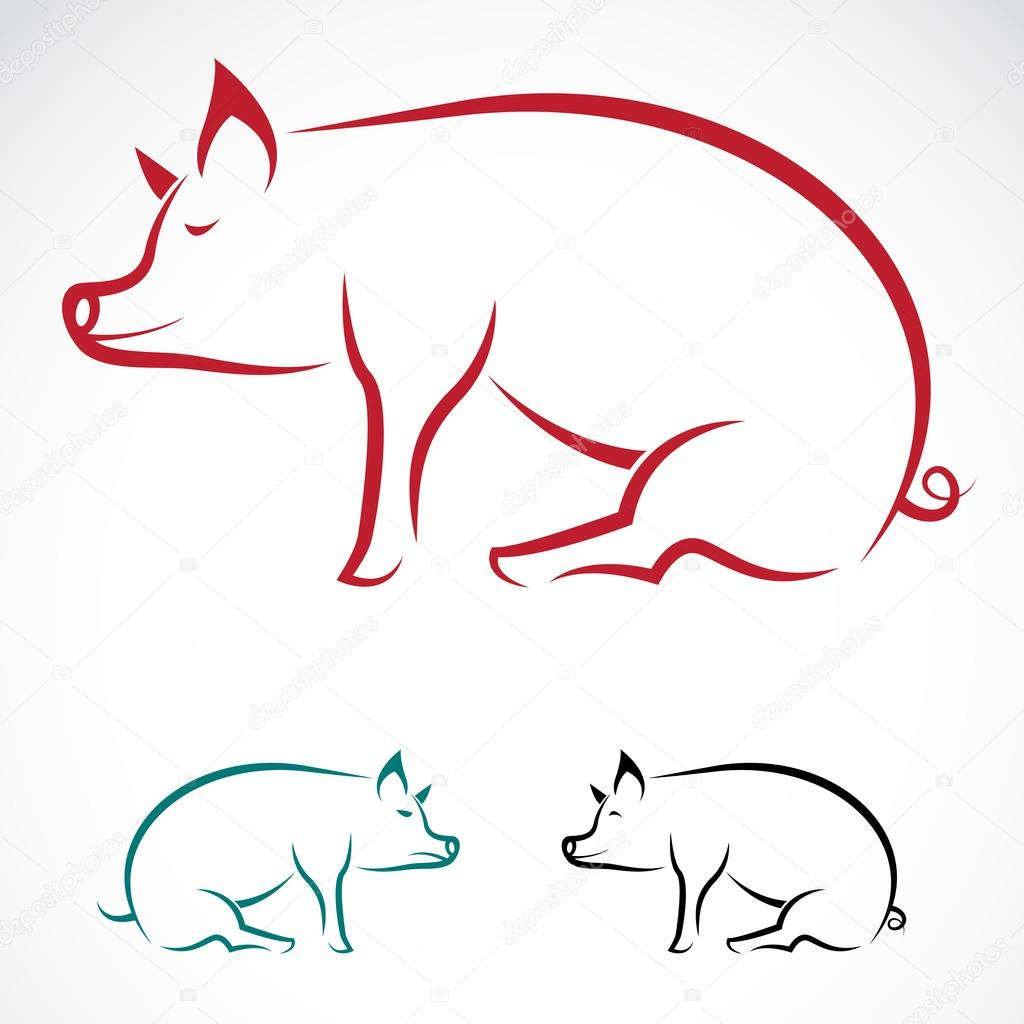 Pig Roast Silhouette Vector image of an pig - stock