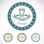 Set of vector swan label — Stock Vector #30181523