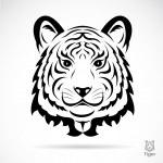 Tiger head silhouette — Stock Vector