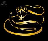 Vector image of a golden snake — Stock Vector