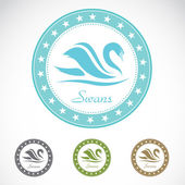Conjunto de sello cisne vector — Vector de stock