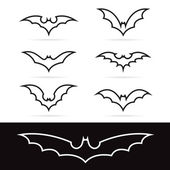 Set of vector bat icons  — Stock Vector