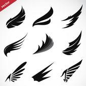 Vector black wing icons set  — Stok Vektör