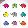 Vector group of colorful elephant — Stock Vector