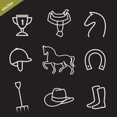Set of vector horse equipment icons — Stock Vector