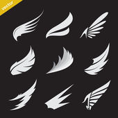 Vector white wing icons set — Stock Vector