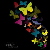 Butterfly design on black background — Stock Vector