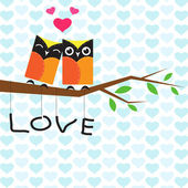 Vector backgrounds with couple of owls on the branch.  — Stock Vector