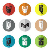 Vector group of owl in the circle  — Stock Vector