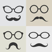 Vector images of glasses and mustaches  — Stock Vector
