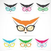 Vector images of fox wearing glasses  — Stock Vector