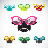 Vector images of cows wearing glasses  — Stock Vector