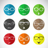 Vector icons of faces with eyeglasses. — Stock Vector