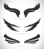 Vector black wing icons set  — Stock Vector