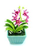 Purple fake flowers in the vase  — Stockfoto