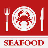 Crab, Fork and Knife icon, restaurant sign — Stock Vector
