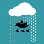 Birds flying in the sky when it rains. — Stock Vector
